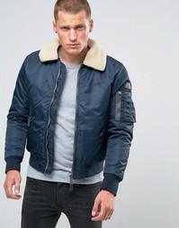 Куртка-пилот с воротником из искусственного меха Schott - Темно-синий