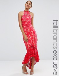 Кружевное платье миди с рюшами по низу Jarlo Tall - Красный