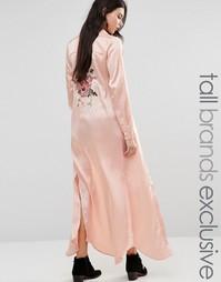 Рубашка макси с длинными рукавами и вышивкой сзади Glamorous Tall - Розовый