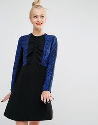 Платье с длинными рукавами и леопардовым принтом Sonia By Sonia Rykiel - Синий