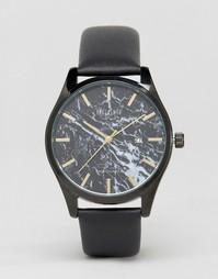 Часы с черным кожаным ремешком и мраморным принтом Reclaimed Vintage - Черный