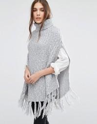 Серое пончо крупной вязки из меланжа в крапинку Stitch & Pieces - Серый