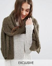 Длинный вязаный шарф Stitch & Pieces - Зеленый