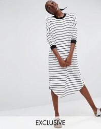 Платье миди в полоску в стиле oversize от Monki - Мульти