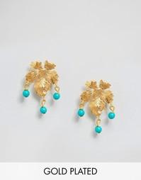 Серьги с листиками Ottoman Hands - Золотой