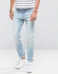 Голубые рваные зауженные джинсы стретч Hollister - Синий