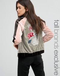 Бархатная куртка-пилот с контрастной вышивкой Glamorous Tall - Мульти