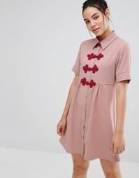 Платье-рубашка с короткими рукавами и застежками кроше Sister Jane - Розовый