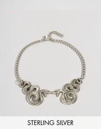 Ожерелье-воротник со змеями Regal Rose Halloween Malice - Серебряный