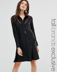 Платье с кружевной вставкой Glamorous Tall - Черный