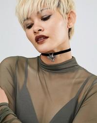 Бархатное ожерелье-чокер Regal Rose Halloween Drakkar Gargoyle - Черный