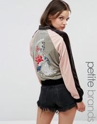 Бархатная куртка-пилот с вышивкой Glamorous Petite - Мульти