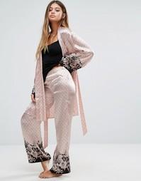 Атласные брюки Pour Moi Bardot - Розовый
