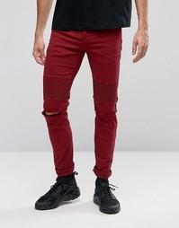 Рваные байкерские джинсы скинни Sixth June - Красный