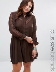 Платье-рубашка с кружевной вставкой Alice & You - Коричневый