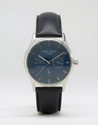 Часы с хронографом, черным кожаным ремешком и синим циферблатом Simon Carter - Черный