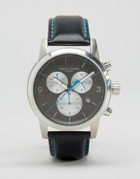 Серые часы с хронографом и кожаным ремешком Simon Carter - Черный