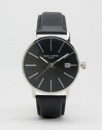 Часы с черным кожаным ремешком и циферблатом Simon Carter - Черный