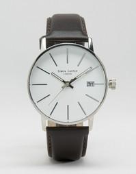 Часы с черным кожаным ремешком и белым циферблатом Simon Carter - Черный