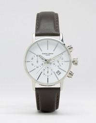 Часы с хронографом, кожаным ремешком и белым циферблатом Simon Carter - Черный