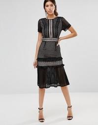Кружевное платье миди с оборками True Decadence - Черный
