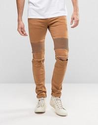 Рваные байкерские джинсы скинни Sixth June - Рыжий