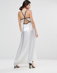 Плиссированное платье макси True Decadence - Серебряный