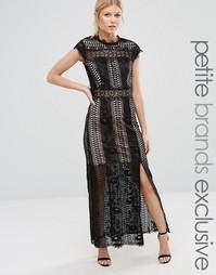 Кружевное платье макси с разрезом до бедра True Decadence Petite - Черный