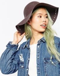 Фетровая широкополая шляпа с перфорацией по краю Hat Attack - Серый