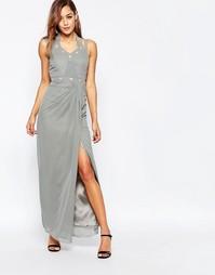 Декорированное платье макси с разрезом сбоку VLabel - Серебряный