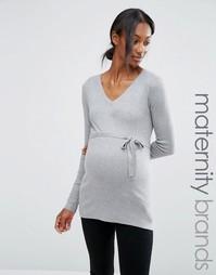 Тонкий вязаный джемпер для беременных Mamalicious Maternity - Серый Mama.Licious
