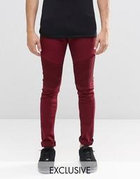 Бордовые супероблегающие байкерские джинсы Liquor & Poker - Красный