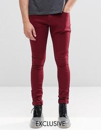 Бордовые супероблегающие джинсы Liquor & Poker - Красный
