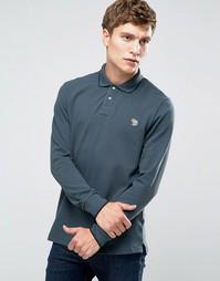 Серая футболка-поло слим с длинными рукавами и логотипом Paul Smith - Серый