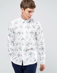 Белая рубашка слим с принтом листья Paul Smith - Белый