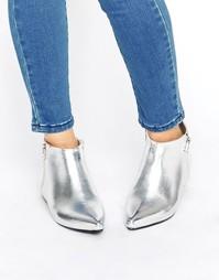 Серебристые ботинки на молнии с острым носком London Rebel - Серебряный