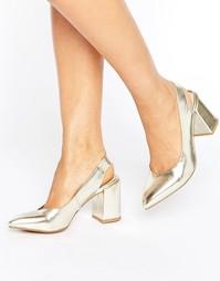 Туфли на среднем каблуке с ремешком через пятку London Rebel - Золотой