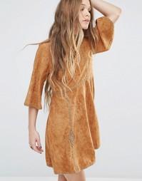 Замшевое платье с рукавами до локтя и отделкой Moon River - Коричневый