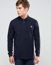 Темно-синяя футболка‑поло слим с длинными рукавами и логотипом Paul Smith - Темно-синий