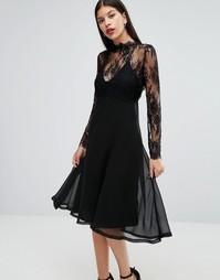 Платье-сорочка 2 в 1 со съемным кружевным топом Boohoo - Черный
