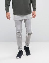 Байкерские джинсы скинни с прорехами Other UK - Stone
