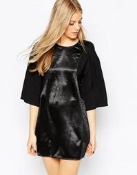 Черное платье мини с расклешенными рукавами BCBGeneration - Черный