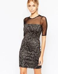 Облегающее платье с полупрозрачными рукавами и узором флок Hedonia Eliza - Черный