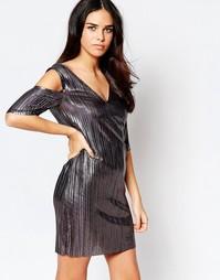 Плиссированное платье с открытыми плечами оттенка «пушечная бронза» Liquorish - Серебряный