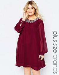 Цельнокройное платье с декорированной горловиной Goddiva Plus - Красный