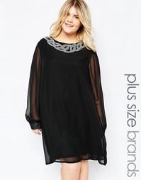 Цельнокройное платье с декорированной горловиной Goddiva Plus - Черный