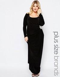 Платье макси с декоративной отделкой Goddiva Plus - Черный