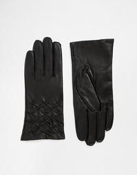 Кожаные перчатки для сенсорных экранов со сборками Totes - Черный