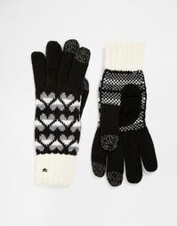 Вязаные перчатки с накладками для сенсорных экранов на 3 пальцах Totes - Черный