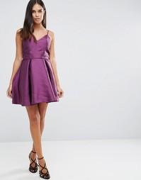 Структурированное короткое приталенное платье на бретельках AX Paris - Фиолетовый